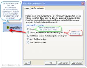 Screenshot Umstellung Großbuchstabe