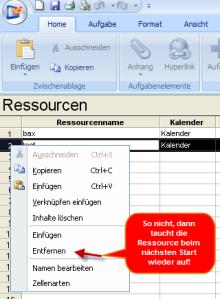 Ressourcen löschen im JCV Gantt Resourcen-Pool